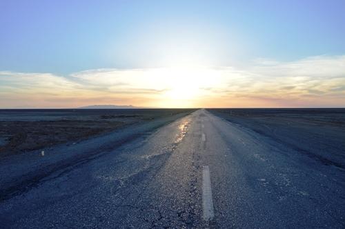 غروب آفتاب- جاده ی طبس به خور و بیابانک